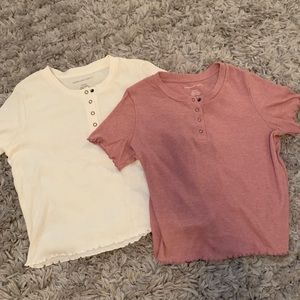 American Eagle short sleeve tops (mauve and white)
